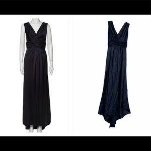 VERA WANG Indigo V Neck Maxi Dress Sz 4
